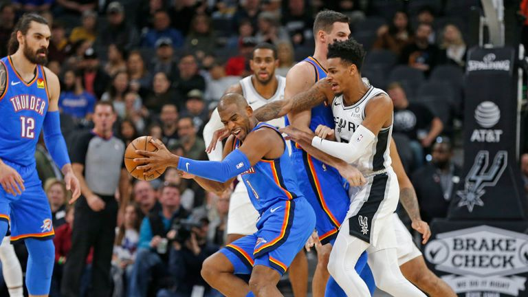 Oklahoma City Thunder against the San Antonio Spurs in Week 11 of the NBA season.