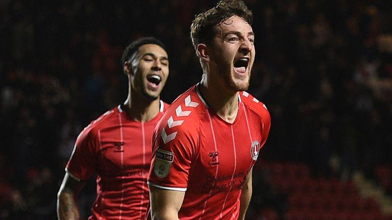 Charlton Athletic's Tom Lockyer (centre) celebrates their second goal