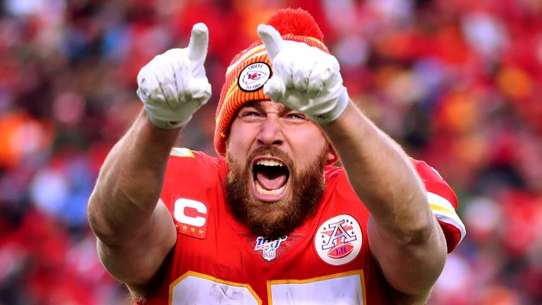 Tight end Travis Kelce led the Chiefs' celebrations on Sunday night