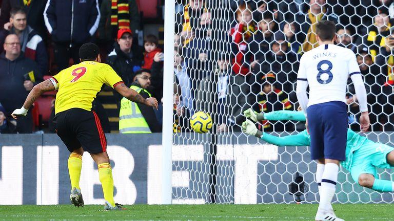 Troy Deeney's penalty is saved by Paulo Gazzaniga in Watford's 0-0 draw with Tottenham