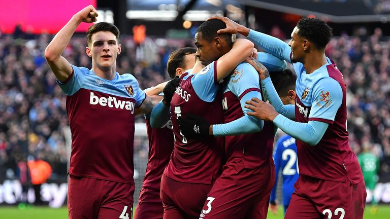 The West Ham players celebrate Issa Diop's 40th-minute opener