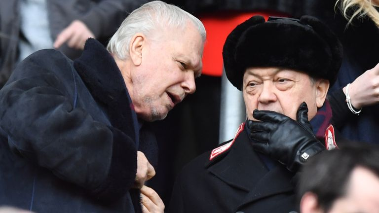 West Ham United co-owners David Sullivan (right) and David Gold pictured during an FA Cup match in 2018