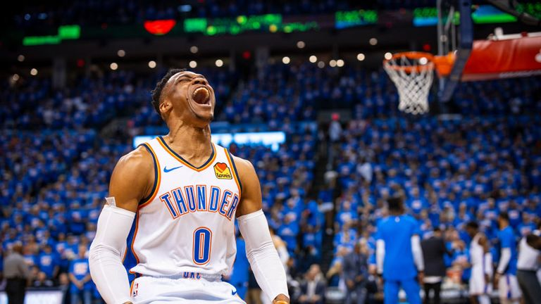 Russell Westbrook #0 of the Oklahoma City Thunder shows emption against the Portland Trail Blazers during Game Four of Round One of the 2019 NBA Playoffs on April 21, 2019 at Chesapeake Energy Arena in Oklahoma City, Oklahoma.
