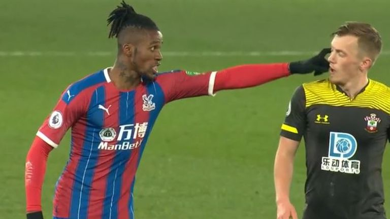 Wilfried Zaha clashes with James Ward-Prowse