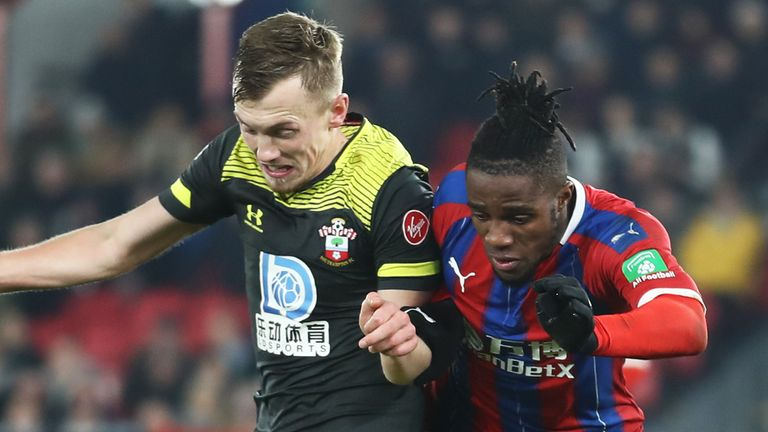 Wilfried Zaha escaped a red card VAR review after colliding with James Ward-Prowse