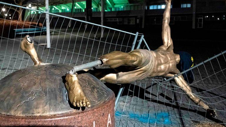 A statue of Zlatan Ibrahimovic outside Malmo FF's stadium has been cut down