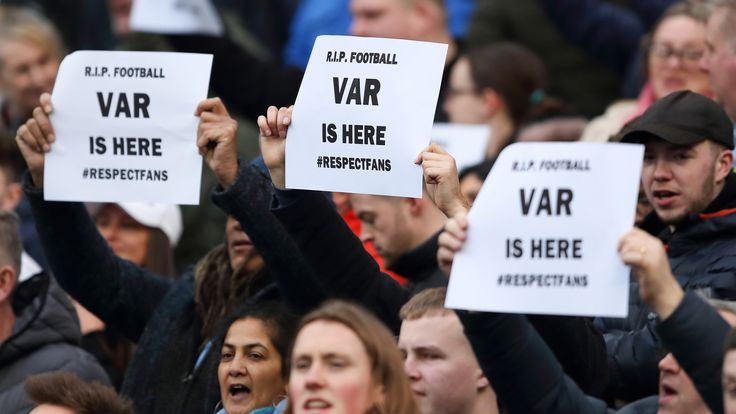 Fans holding up signs in protest against VAR during the Premier League match between Manchester City and Crystal Palace at Etihad Stadium on January 18, 2020 in Manchester, United Kingdom. (Photo by James Williamson - AMA/Getty Images)