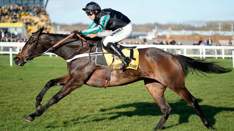 NEWBURY, ENGLAND - FEBRUARY 08: Nico de Boinville riding Altior clear the last to win The Win Bigger On The Betfair Exchange Chase at Newbury Racecourse on February 08, 2020 in Newbury, England. (Photo by Alan Crowhurst/Getty Images)