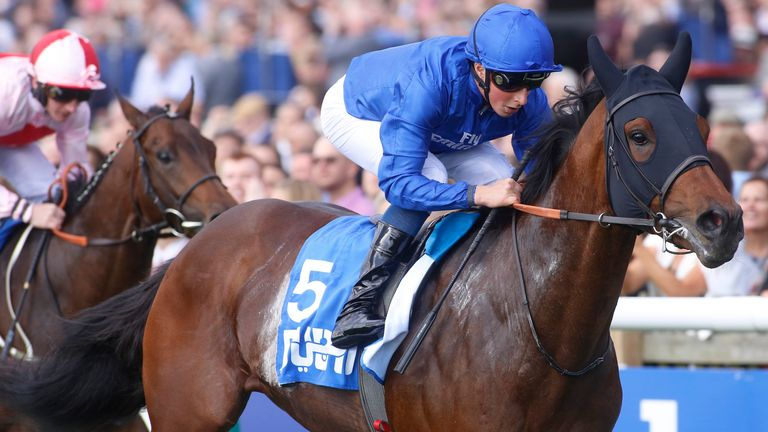 Ghaiyyath ridden by William Buick leads Dream Today ridden by PJ McDonald to win The Masar Godolphin Autumn Stakes Race run during day two of the Dubai Future Champions Festival at Newmarket Racecourse, Newmarket.