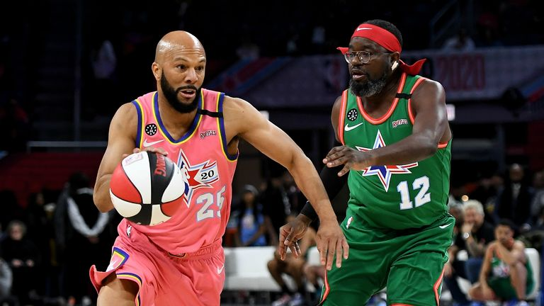 Common #25 of Team Wilbon dribbles the ball while being guarded by Lil Rel Howery #12 of Team Stephen A. during the 2020 NBA All-Star Celebrity Game Presented By Ruffles at Wintrust Arena on February 14, 2020 in Chicago, Illinois.