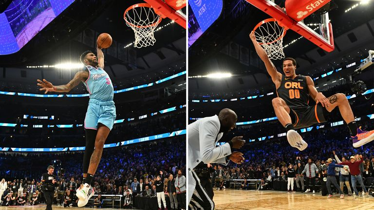 Derrick Jones Jr edged out Aaron Gordon to claim a controversial victory in the 2020 Slam Dunk contest at All-Star Saturday Night.