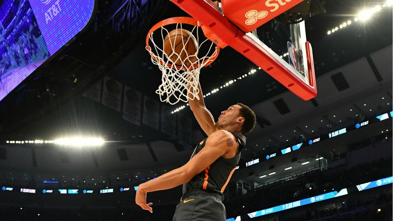 Aaron Gordon #00 of the Orlando Magic participates in the 2020 NBA All-Star - AT&T Slam Dunk on February 15, 2020 at the United Center in Chicago, Illinois.