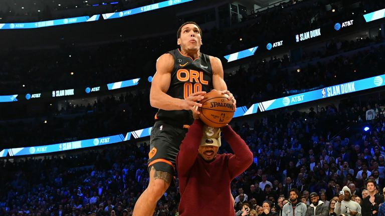 Aaron Gordon's third dunk - #00 of the Orlando Magic participates in the 2020 NBA All-Star - AT&T Slam Dunk on February 15, 2020 at the United Center in Chicago, Illinois.