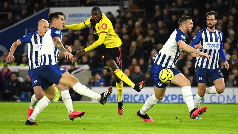 Abdoulaye Doucoure shoots to put Watford ahead at Brighton
