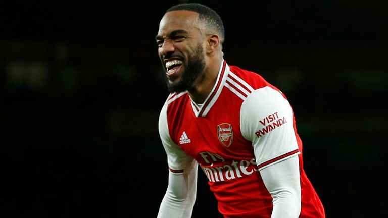 Alexandre Lacazette celebrates his goal against Newcastle