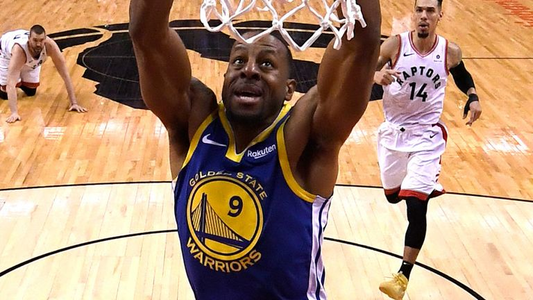 Andre Iguodala dunks during the 2019 NBA Finals