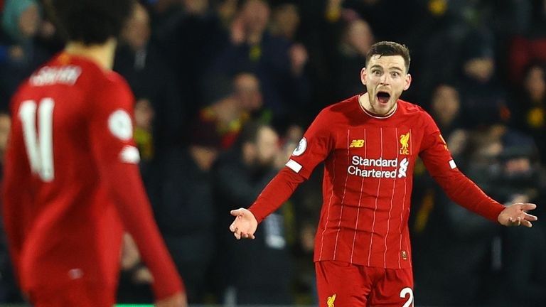 Andrew Robertson shows his frustration as Liverpool concede for a third time