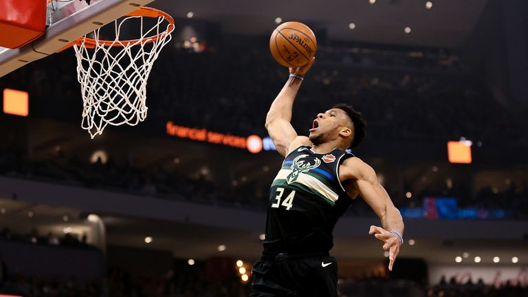 Giannis Antetokounmpo of the Milwaukee Bucks dunks the ball against the Oklahoma City Thunder