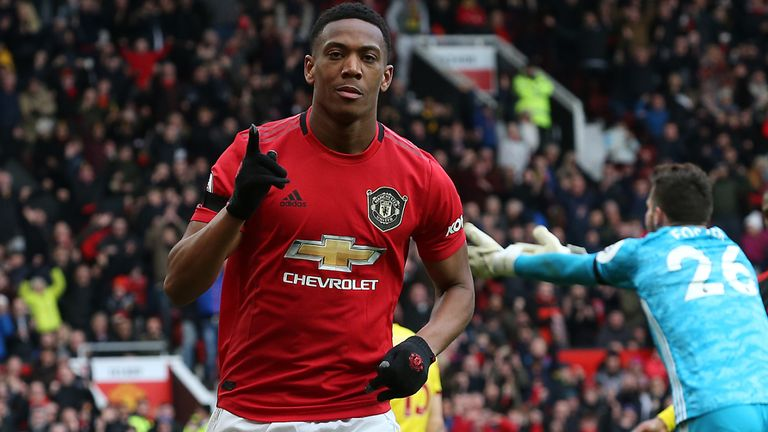 MANCHESTER, ENGLAND - FEBRUARY 23: Anthony Martial of Manchester United celebrates scoring their second goal during the Premier League match between Manchester United and Watford FC at Old Trafford on February 23, 2020 in Manchester, United Kingdom. (Photo by John Peters/Manchester United via Getty Images)