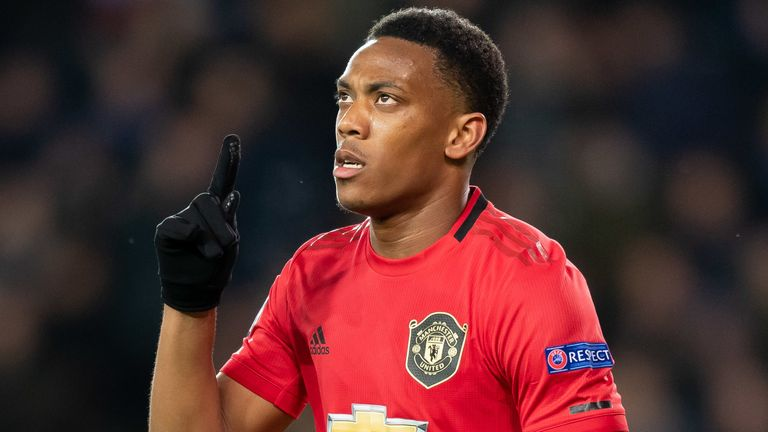 Anthony Martial celebrates scoring for Manchester United against Club Brugge