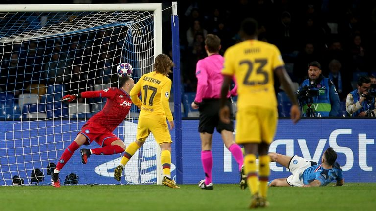 Griezmann connects first time with his finish to level for Barcelona on Tuesday