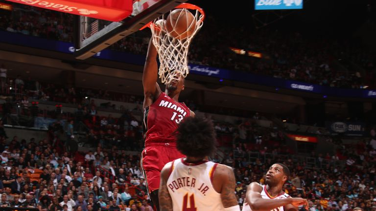 Bam Adebayo of the Miami Heat dunks the ball against the Cleveland Cavaliers