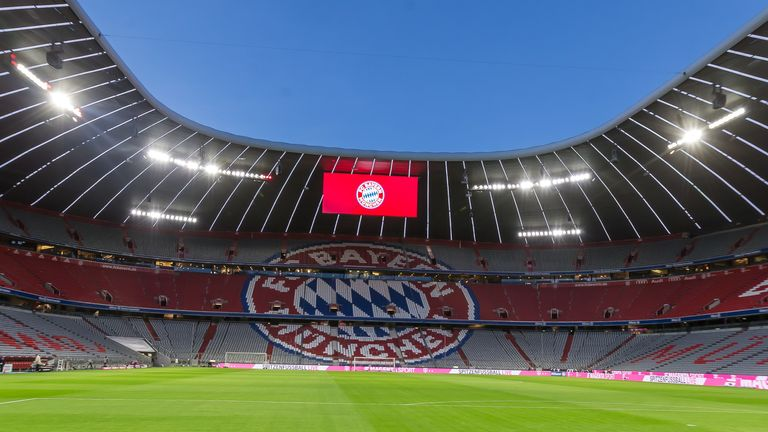 A general view inside the stadium prior to the Bundesliga match between FC Bayern Munich and SC Paderborn 07 at Allianz Arena on February 22, 2020
