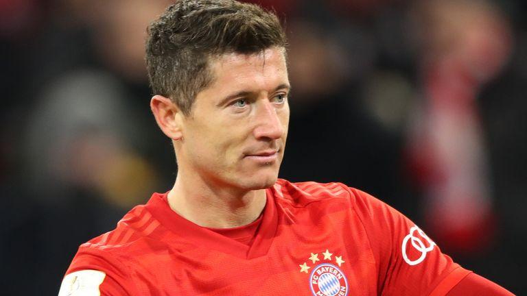 Robert Lewandowski celebrates scoring for Bayern against Hoffenheim