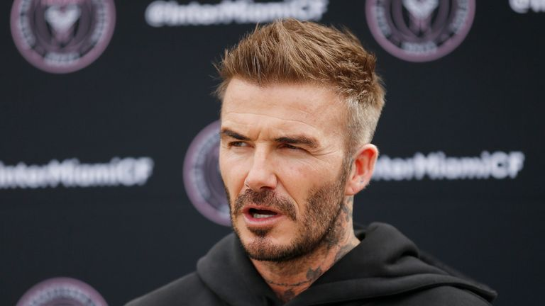 Owner and President of Soccer Operations David Beckham addresses the media ahead of Inter Miami CF's inaugural match on March 1st against LAFC, during media availability at Inter Miami CF Stadium on February 25, 2020 in Fort Lauderdale, Florida