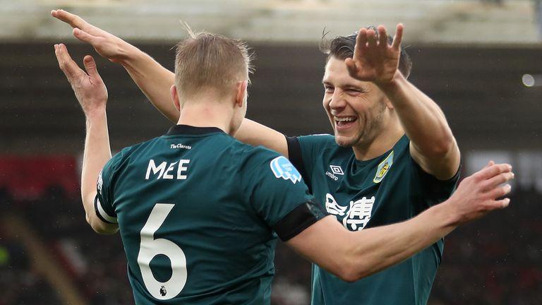James Tarkowski and Ben Mee celebrates Ashley Westwood's goal against Southampton