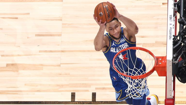 Ben Simmons of Team LeBron dunks the ball during the 69th NBA All-Star Game
