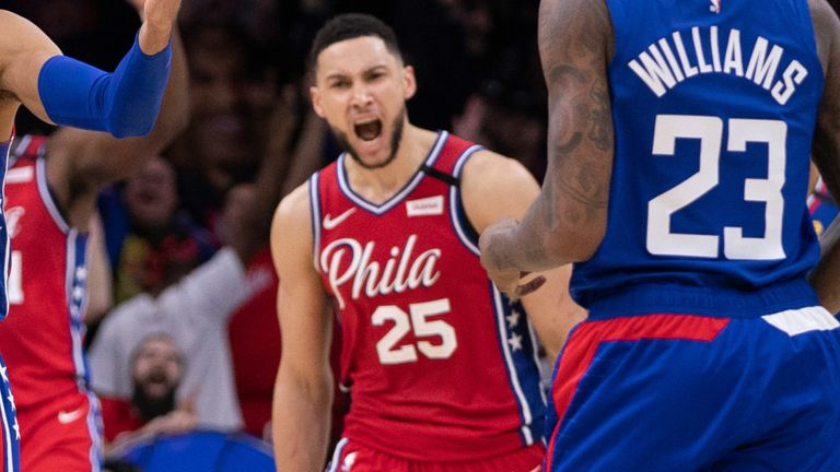Ben Simmons celebrates a basket in the 76ers' win over the Clippers