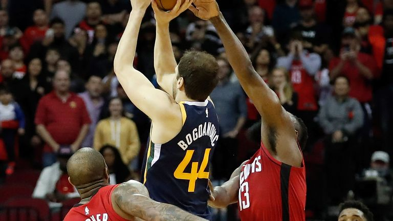 Bojan Bogdanovic launches a game-winning buzzer-beater over the Rockets defenders