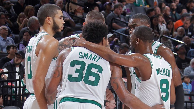 Jayson Tatum, Marcus Smart, Kemba Walker and the rest of Boston's starting five pictured before tip-off in Sacramento