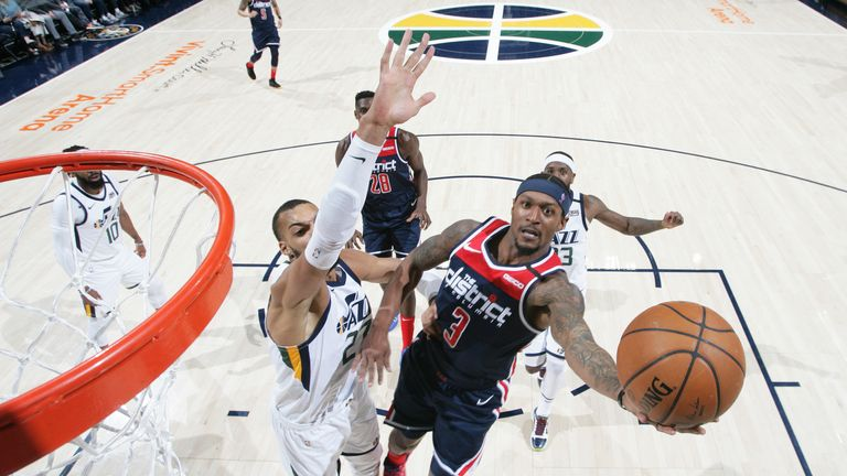 Bradley Beal of the Washington Wizards shoots the ball against the Utah Jazz