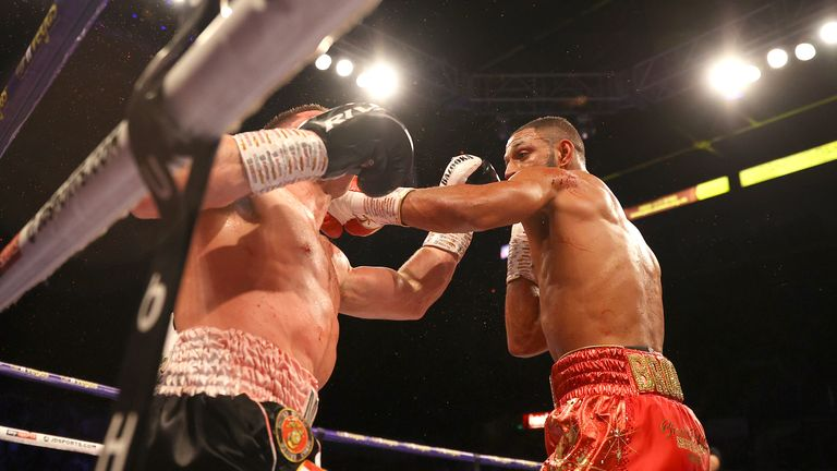Kell Brook punches Mark DeLuca during the WBO Intercontinental Super-Welterweight Title Fight at FlyDSA Arena on February 08, 2020