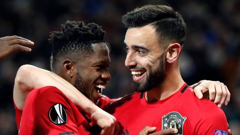 Bruno Fernandes and Fred also scored during the Europa League win