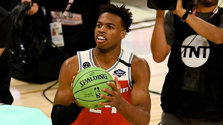 Buddy Hield prepares to shoot during the 3-Point Contest at All-Star Saturday Night