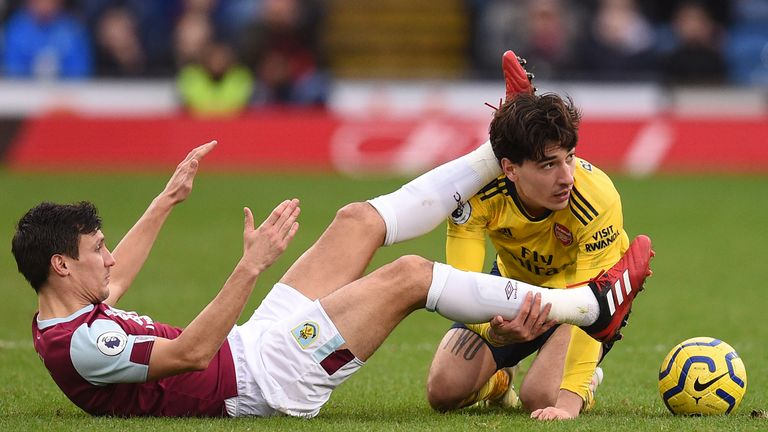 Hector Bellerin tangles with Jack Cork during the stalemate on Super Sunday