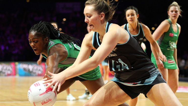 Celtic Dragons' Latanya Wilson (left) and Surrey Storm's Yasmin Hodge-England
