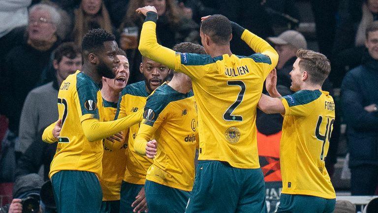 Odsonne Edouard celebrates his goal against Copenhagen with Celtic term-mates
