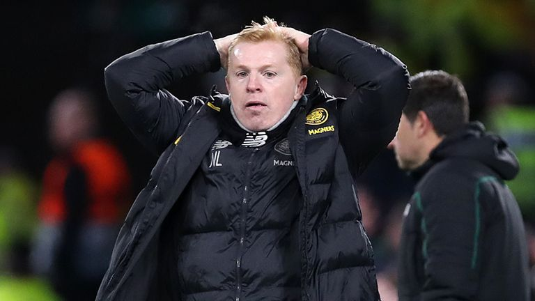 Celtic manager Neil Lennon reacts during the Europa League game against Copenhagen