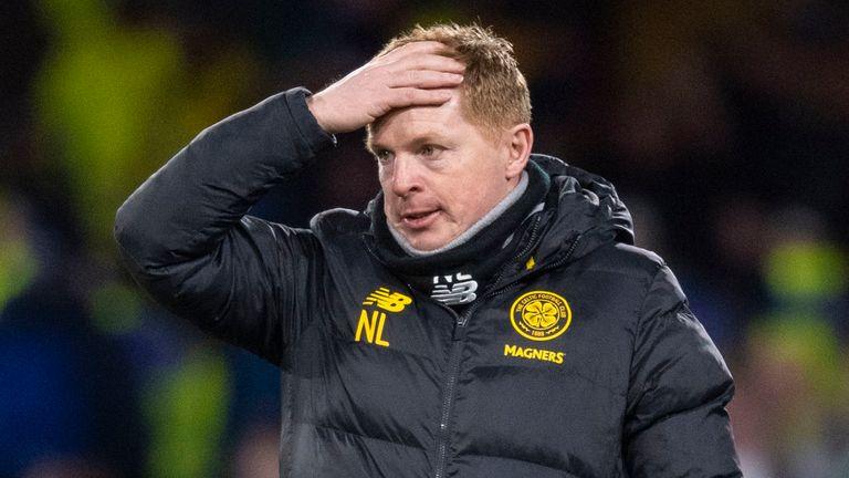 Celtic manager Neil Lennon looks dejected during the Europa League match against Copenhagen