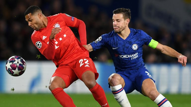Chelsea defender Cesar Azpilicueta and Bayern Munich's Serge Gnabry battle for possession