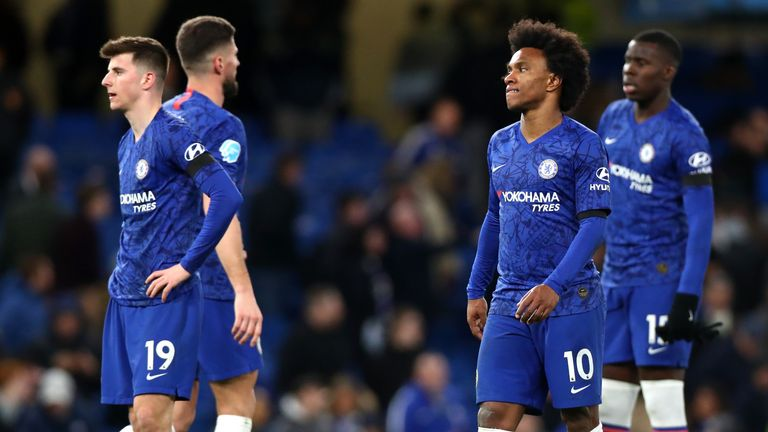 Chelsea players look dejected following their defeat to Manchester United at Stamford Bridge