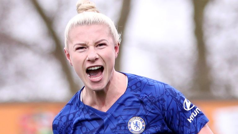 Beth England scored twice in the Chelsea victory