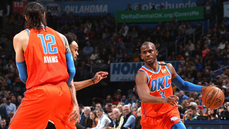 Chris Paul of the Oklahoma City Thunder handles the ball against the San Antonio Spurs