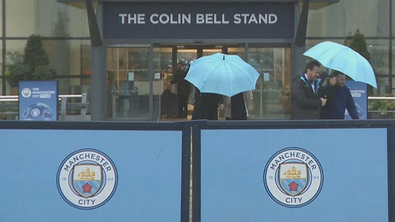 The Etihad Stadium was hit by the storm with Man City's game against West Ham called off