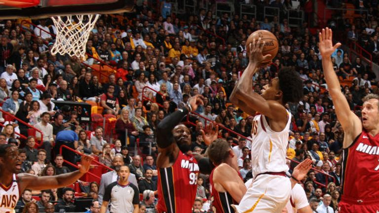 Collin Sexton of the Cleveland Cavaliers shoots the ball against the Miami Heat