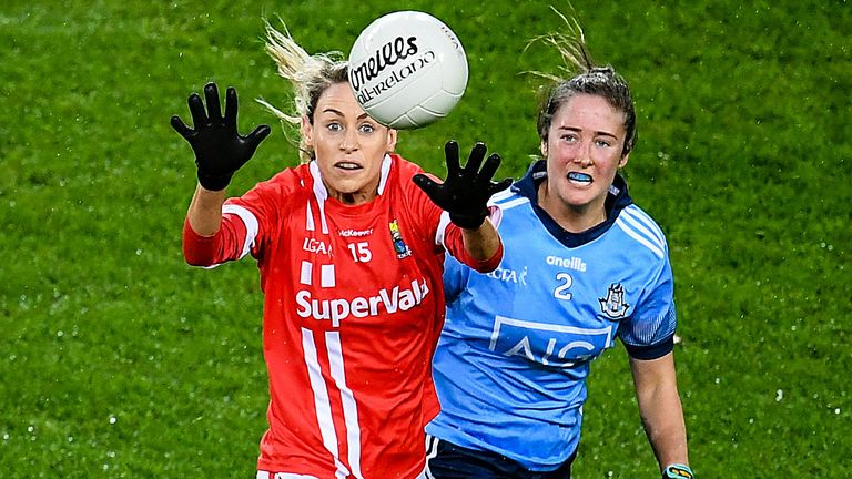 Orla Finn of Cork and Éabha Rutledge of Dublin during the sides' meeting at Croke Park on Saturday evening